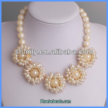 Wholesale Latest Design Flower Shape Imitation Pearl Necklace Hyderabad For Bridal PBN-117
