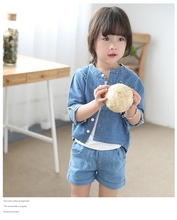 S017111 2016 new arrival autumn baby clothes plain design baby girl denim jacket