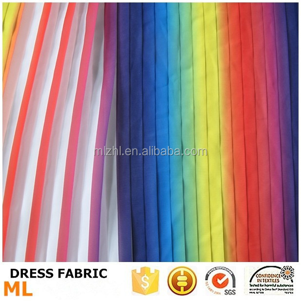 Rainbow gradual change colorful pleated fabric for fashion dress or girls party dresses