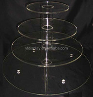4 Tiers Clear Acrylic Round Cup Cake Stand Holder for Wedding