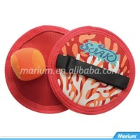 Red Color Velcro Paddle Ball Catch Set Fun Toys