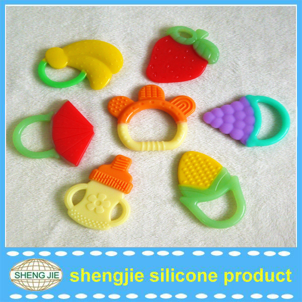2015 BPA free Fruit Soft Silicone baby Teethers for Christmas Promotion