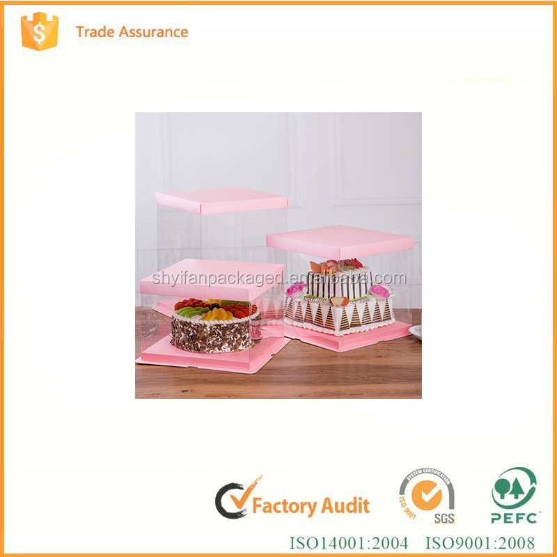 Disposable transparent plastic window wedding birthday wholesale cheese cupcake paper cake box with handle