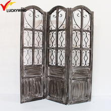 Vintage Decorative Room Dividers Wood and Glass