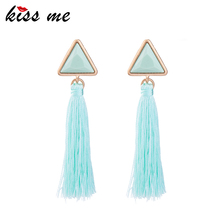 Fresh Pleasantly Cool Pink And Green Triangle Silk Thread Earrings Picture Wholesale Tassle Earrings