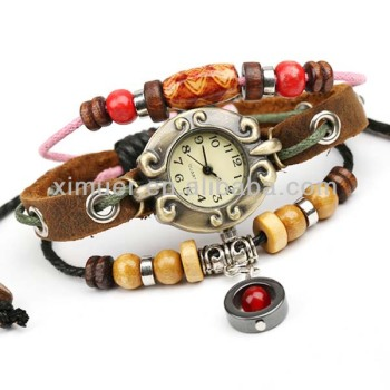 Vintage handmade wrist watch genuine leather watch