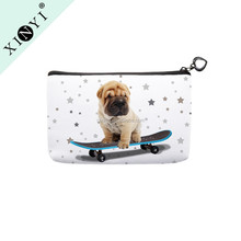 Cute dog print cosmetics makeup bag / custom logo eco beauty custom logo makeup brush bag / cosmetic organizer bag