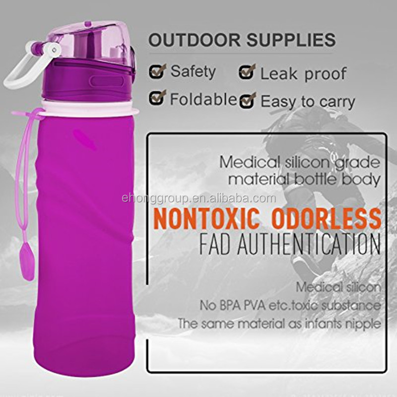 FREE SAMPLE squeeze collapsible sports drinking bottle 750ml silicone foldable water bottle