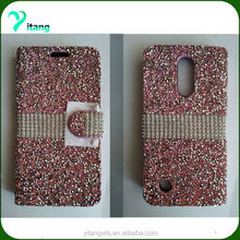 mobile phone acessories for lg aristo case ,Crystal Diamond Rhinestone Flip Wallet Case Cover for lg aristo