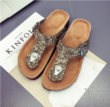Latest Fashion Ladies Glitter Flat Sandal