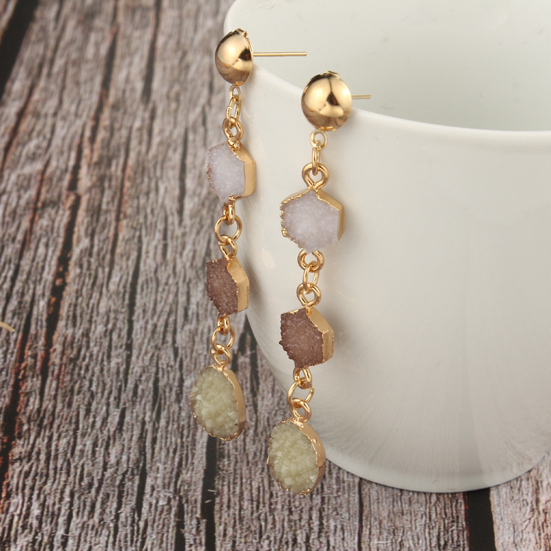 Free shipping new resin dangle earrings long stone drop earrings