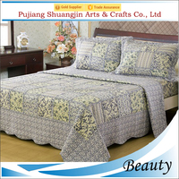 Classic four seasons brushed fabric 3pcs floral printed cheap patchwork quilt