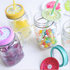 HOT SALE !!! wholesale ice cold drink glass mason jars with lids and straw