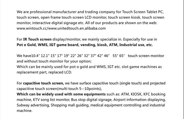 7 inch lcd touchscreen multi touch capacitive touchscreen