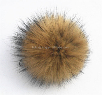 Promotion raccoon fur ball real animal pom pons snap natural raccoon pom pom