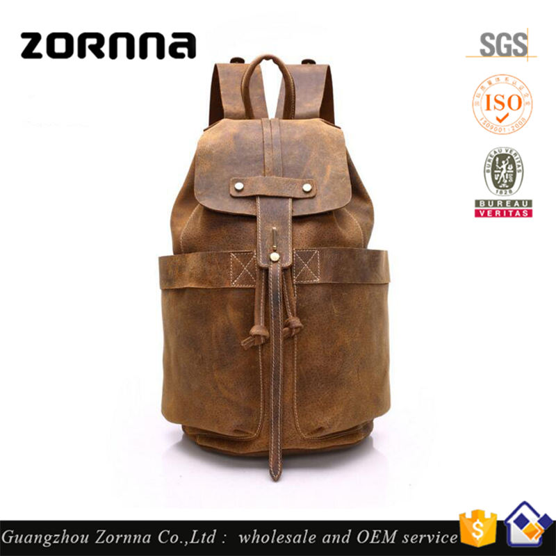 China factory trending mass production italy style men bag sports real leather backpack men