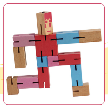 Wooden Brian Teaser Game Toy, Wooden Robot Puzzle Cubes Hot sale Wooden Robot Toy