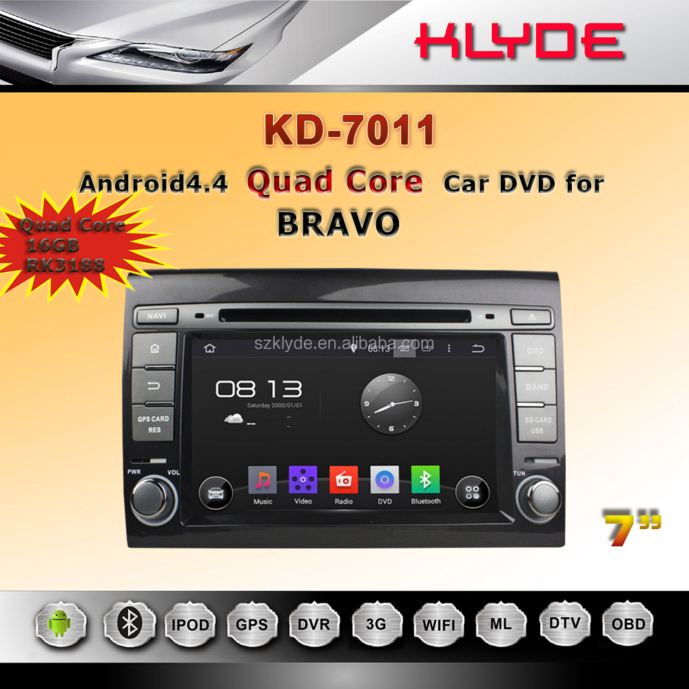 Android 5.1 navigation system 2 din android car dvd for fiat bravo car stereo 16GB Flash 2007-2012