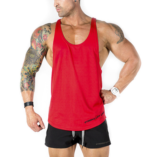 Cheap Gym Red organic cotton tank tops wholesale in RuiFei Garment