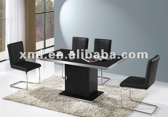 Sala Jantar Laca Preta ~ Laca preta armação de metal mesa de jantar e cadeira de madeira