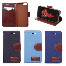 new for iphone 5 5S SE cowboy demin jeans canvas leather flip case with card slots back cover wallet case