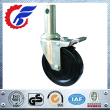 "5"" Square Stem Black Hard rubber wheel caster, scaffolding caster wheel, Scaffold Rolling Tower casters"