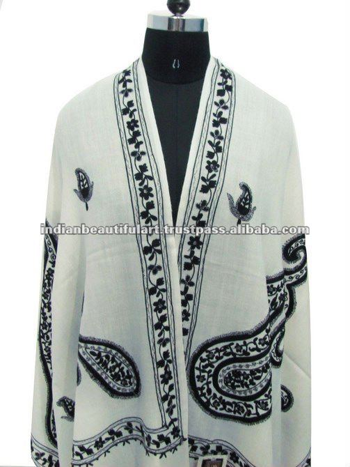 OFF WHITE PURE WOOL EMBROIDERED SHAWL STOLE INDIAN WRAP KASHMIRI SCARF