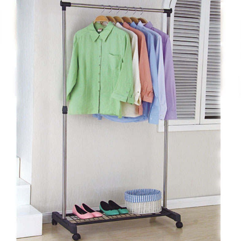 Movable single-pole shoes&cloth hangers stand