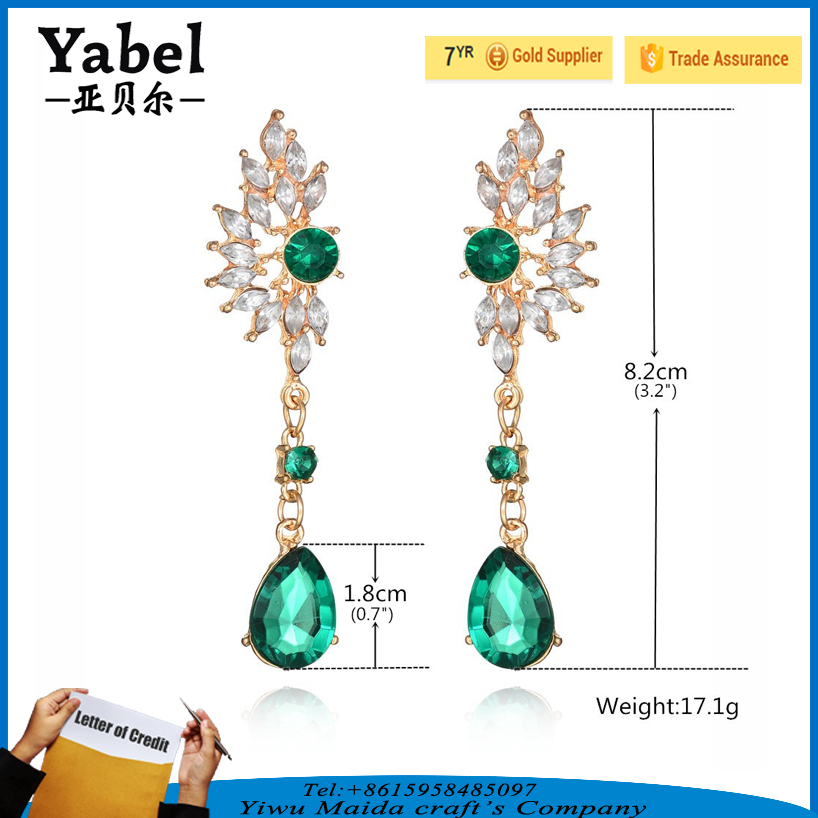 European Hot Sale Evil Eye Shape Crystal Long Drop Bridal Earrings