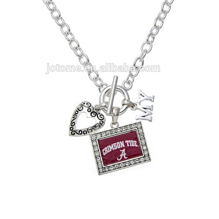 <strong>Fashion</strong> Licensed My Team Silver Alabama Crimson Tide Necklace Rhinestone Pendant