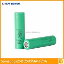 Superior quality samsung 18650 2500mah 3.7v battery 25r 2500mah 20A 18650 high discharge battery lithium ion battery cell