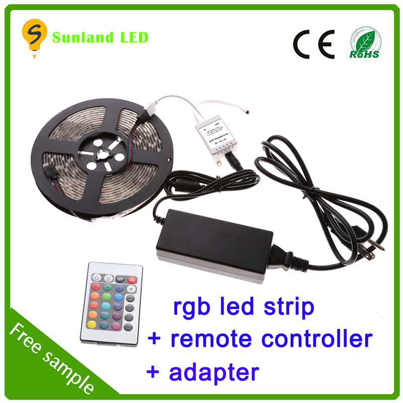 Landscape lamp 5A power supply 24v 12v 5m 5050 smd waterproof led strip kit 12 volt led light strip rgb with remote controller