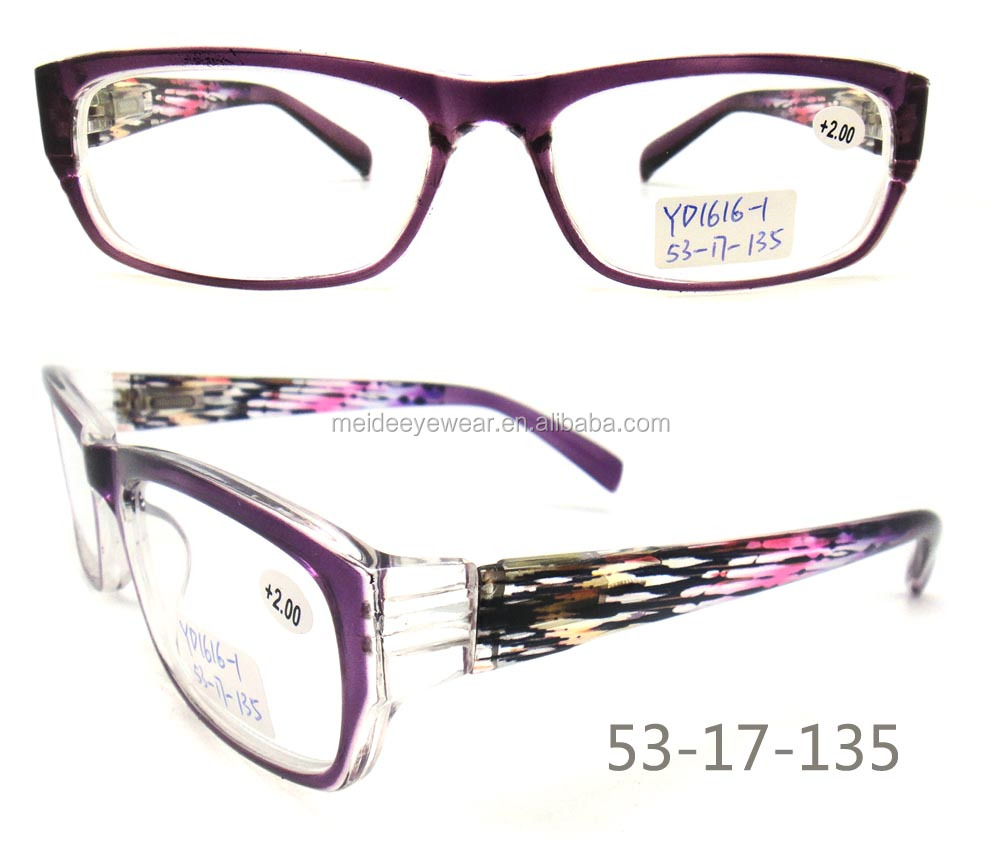 Clear lens beauty double color plastic reading glasses and flim Style reading optic frame