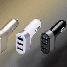 high quality portable 3 port usb 3 in1 usb car charger for Android Tablet charger