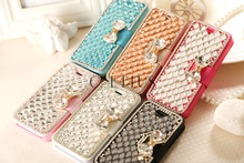 New Style Silk Grain Phone Case For Iphone 6 Leather Case Universal Flip Crystal Bowknot Phone Case For Iphone5s PU