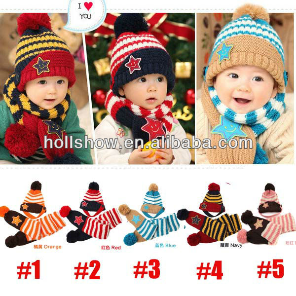New Design Star Knitted Baby Hat And Scarf Set
