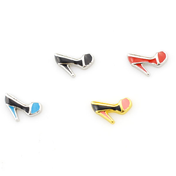 Wholesale zinc alloy high-heeled shoes floating glass locket small charms