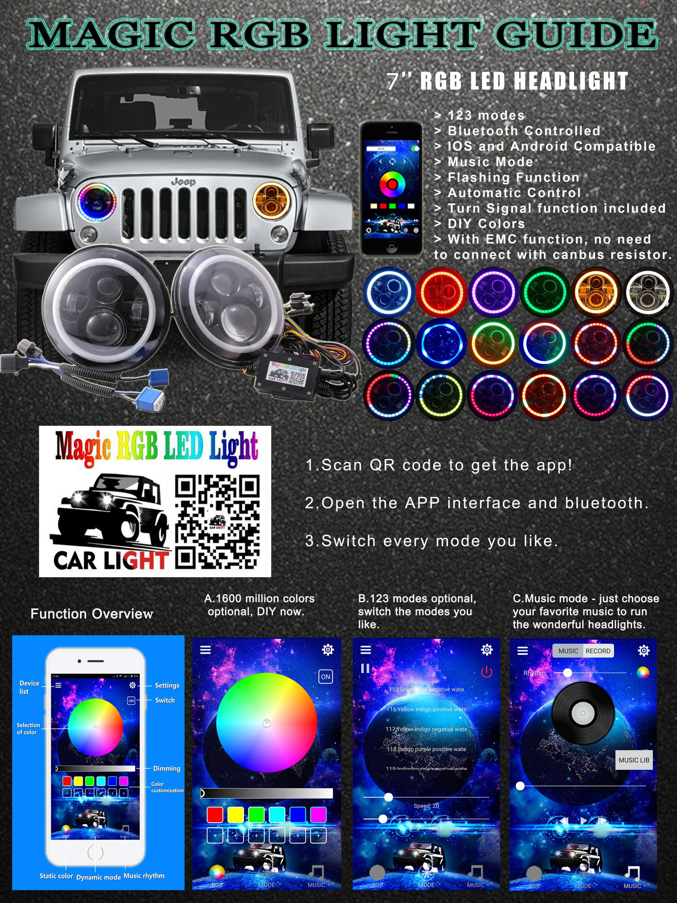 "High quality rgb jeep headlamp with hi/lo beam 7"" led headlight"