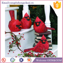 Garden ornament decorative red resin small bird figurines