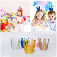 12pcs 5 Colors Glittering Crown Cap Cute Happy Birthday Party Hat Supply Festival Celebration Party Hat Kids Party Decor