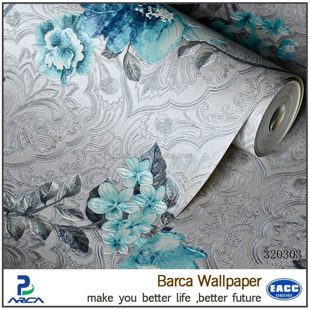 high quality 3d printing wallpaper with embossed flowers