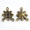 15*15mm Flower 100pcs Antique Bronze Brass Alloy Metal Drop Retro Vintage Jewelry Charms Three Holes Link connectors