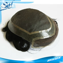 Fine mono around thin skin with front lace stock toupee
