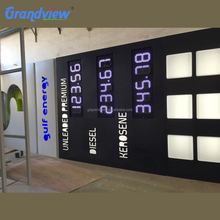Led petrol display gas station island pylon canopy electric advertising pillar equipment price sign board