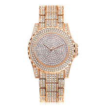 luxury full crystal diamond stone quartz watch women stainless steel fashion bracelet watch