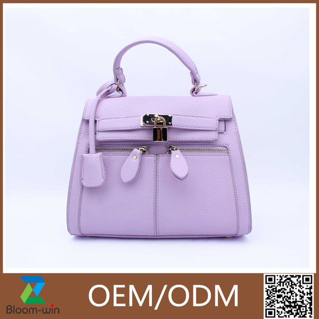 Newest pictures lady fashion handbag systyle purple PU leather shoulder bag
