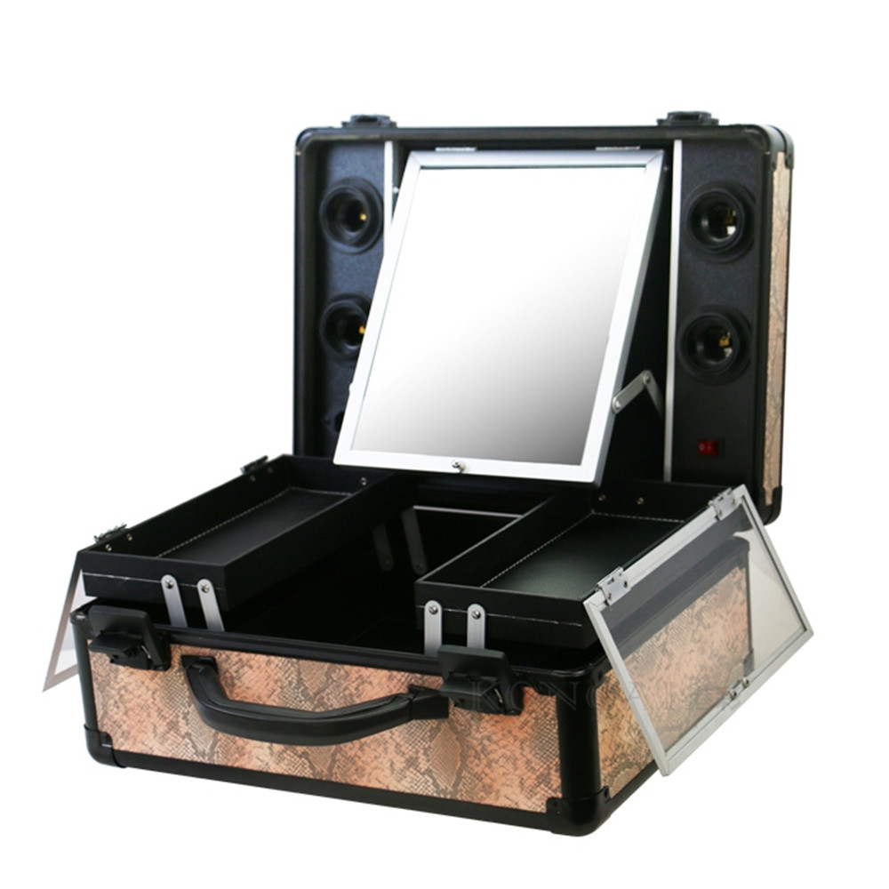 Portable Aluminum PU leather Carrying makeup case mirror suitcase