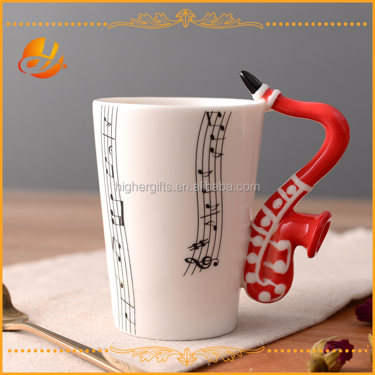 Music Mug with Saxophone Shaped Handle in a Gift Box - 200 ml - Ceramic