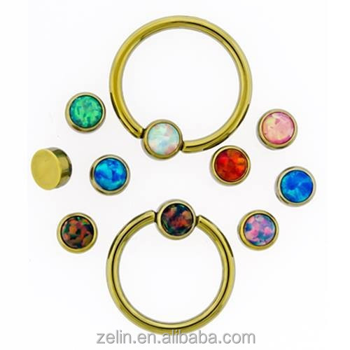 Gold plated BCR nose piercing, ear piercing jewelry with opal