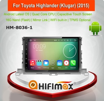 Hifimax Car Radio DVD GPS Navigation For Toyota Highlander (Klugar) (2015) Car DVD Player With Quad Core WIFI 3G INTERNET DVR